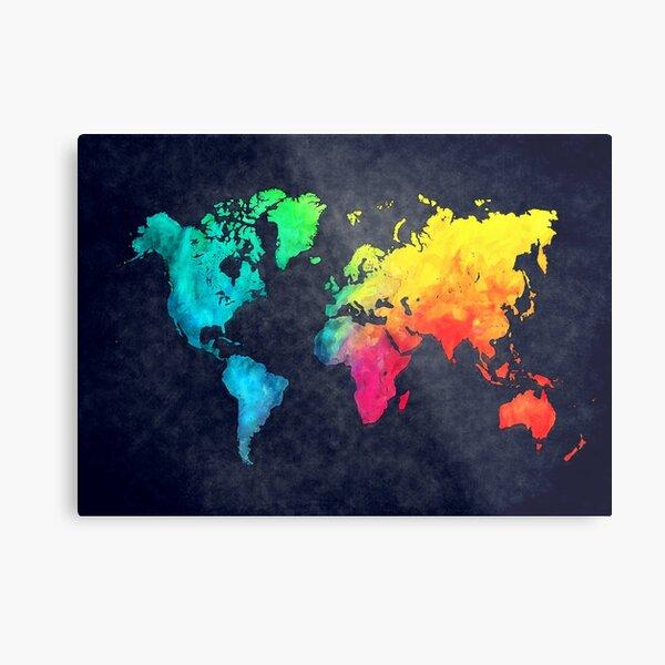 world map watercolor 6 #map #worldmap Metal Print