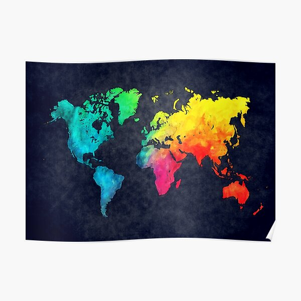 world map watercolor 6 #map #worldmap Poster