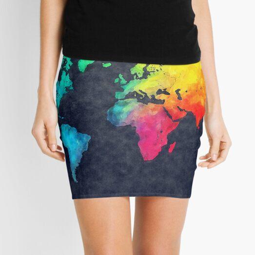 world map watercolor 6 #map #worldmap Mini Skirt