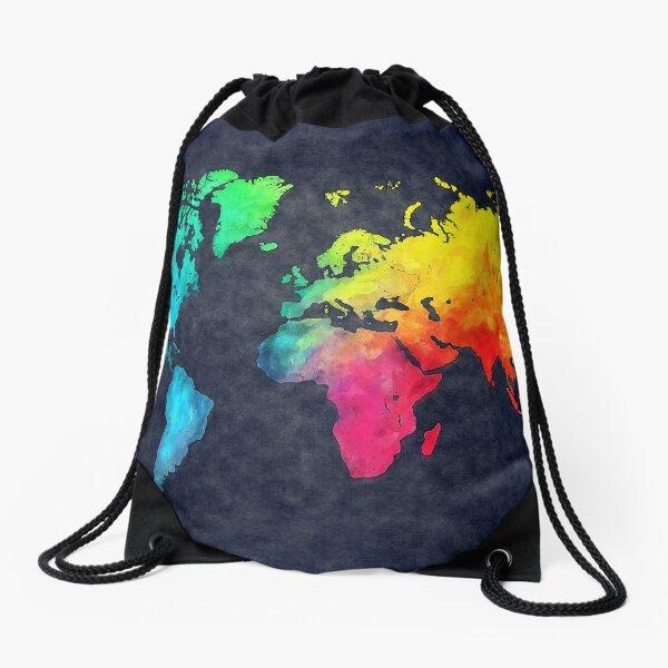 world map watercolor 6 #map #worldmap Drawstring Bag