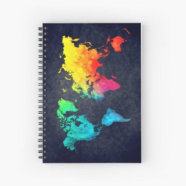 world map watercolor 6 #map #worldmap Spiral Notebook