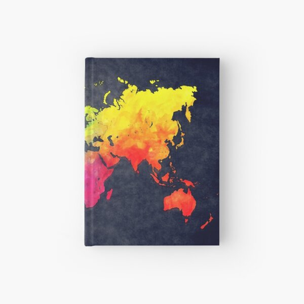 world map watercolor 6 #map #worldmap Hardcover Journal