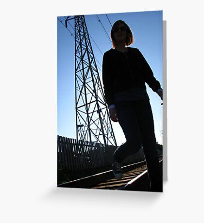 Beneath her feet lies a one-way track Greeting Card