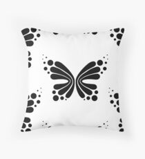 Graphic Butterfly B&W - Shee Vector Pattern Throw Pillow
