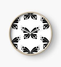 Graphic Butterfly B&W - Shee Vector Pattern Clock