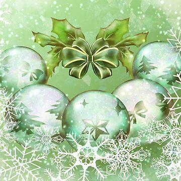 Green festive baubles by RaionKeiji