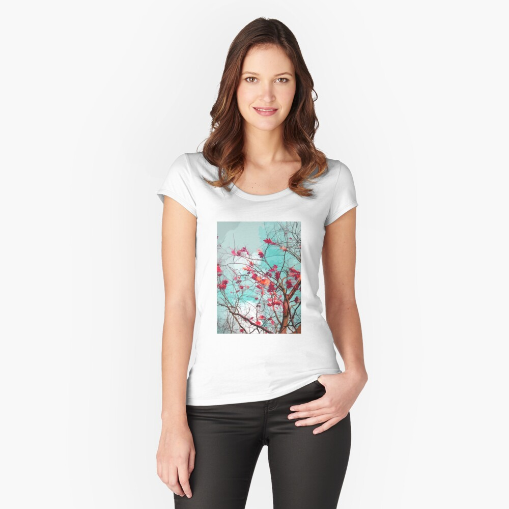 Leaves on branches Women's Fitted Scoop T-Shirt Front