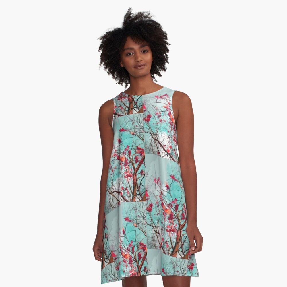 Leaves on branches A-Line Dress Front
