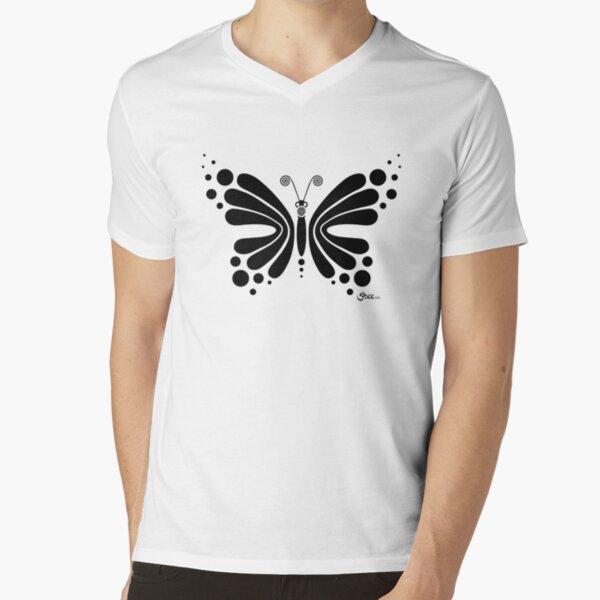 Hypnotic Butterfly B&W - Shee Vector Shape V-Neck T-Shirt