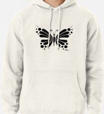 Hypnotic Butterfly B&W - Shee Vector Shape Pullover Hoodie