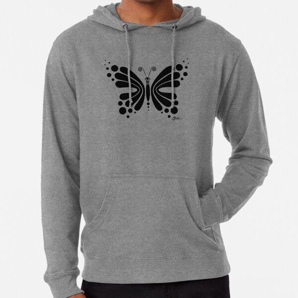 Hypnotic Butterfly B&W - Shee Vector Shape Lightweight Hoodie