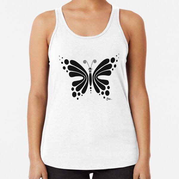 Hypnotic Butterfly B&W - Shee Vector Shape Racerback Tank Top