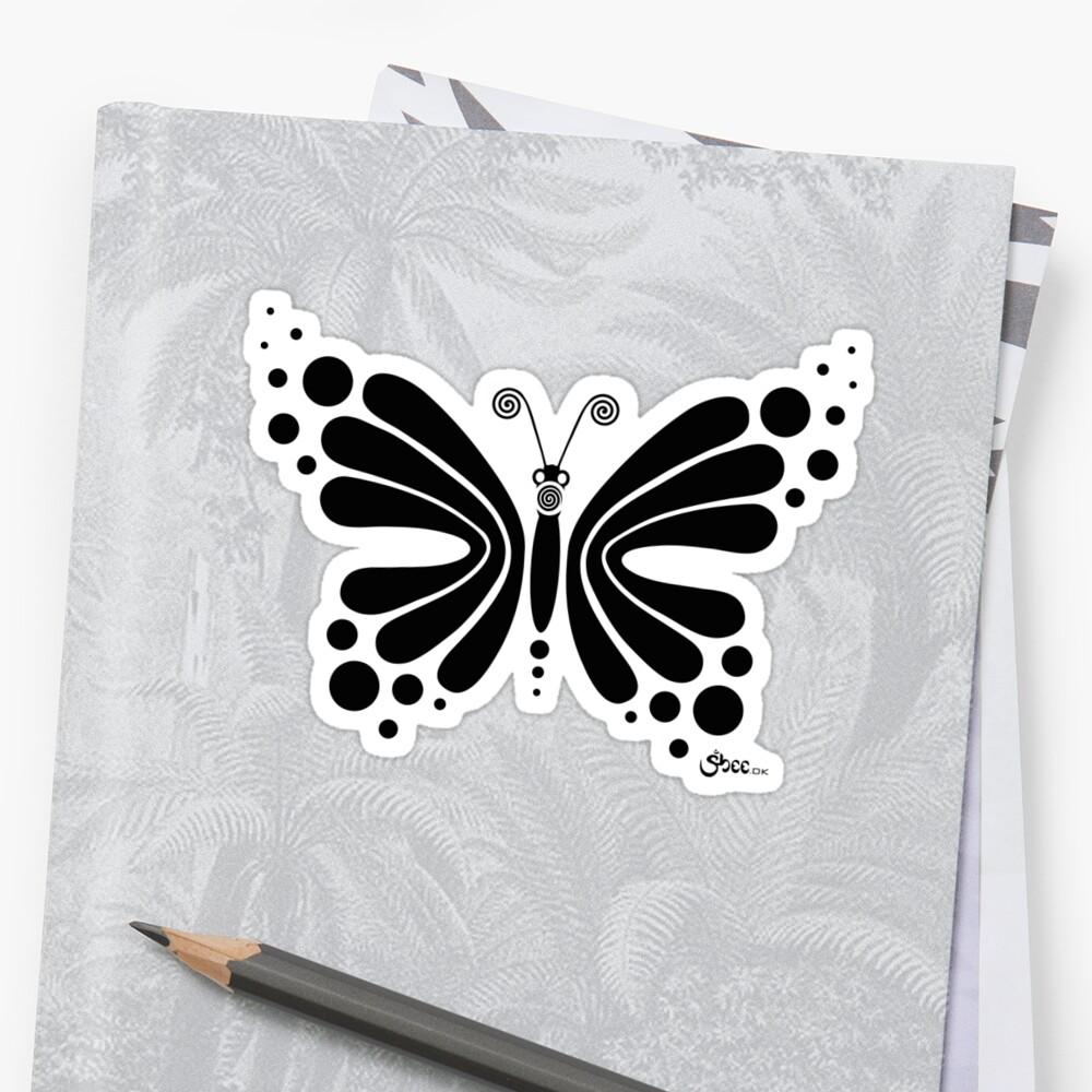 Hypnotic Butterfly B&W - Shee Vector Shape Sticker