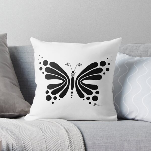 Hypnotic Butterfly B&W - Shee Vector Shape Throw Pillow