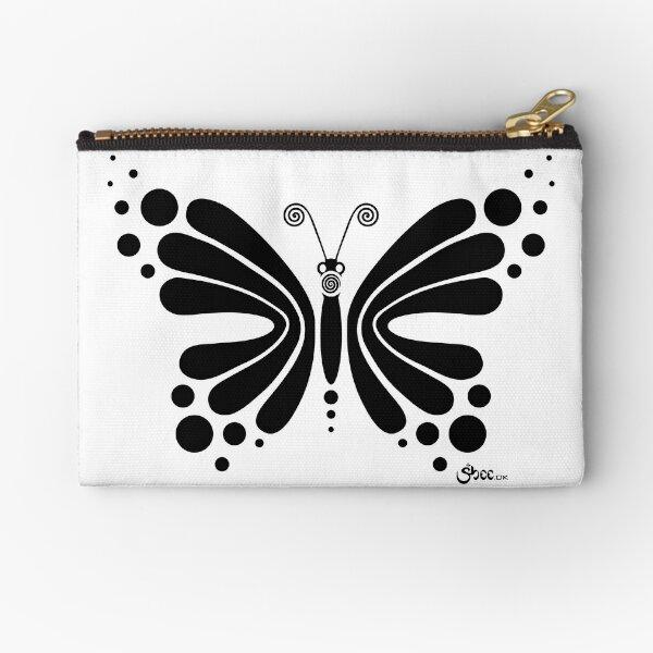 Hypnotic Butterfly B&W - Shee Vector Shape Zipper Pouch