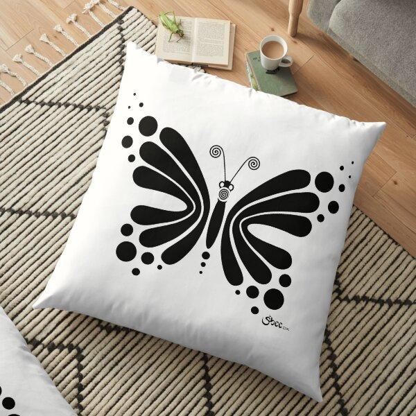 Hypnotic Butterfly B&W - Shee Vector Shape Floor Pillow
