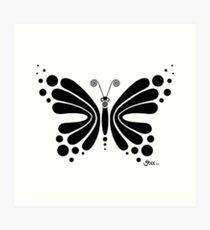 Hypnotic Butterfly B&W - Shee Vector Shape Art Print