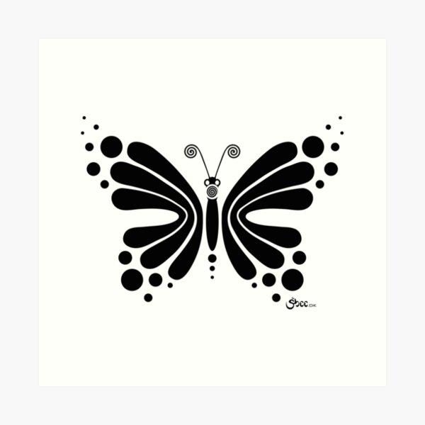 Hypnotic Butterfly B&W - Shee Vector Shape Art Print