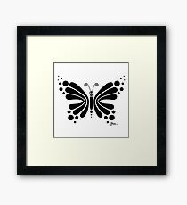 Hypnotic Butterfly B&W - Shee Vector Shape Framed Print