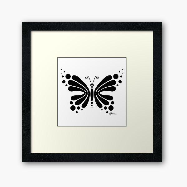 Hypnotic Butterfly B&W - Shee Vector Shape Framed Art Print