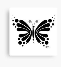 Hypnotic Butterfly B&W - Shee Vector Shape Canvas Print