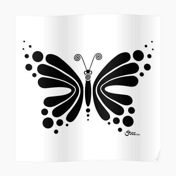 Hypnotic Butterfly B&W - Shee Vector Shape Poster