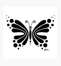 Hypnotic Butterfly B&W - Shee Vector Shape Photographic Print
