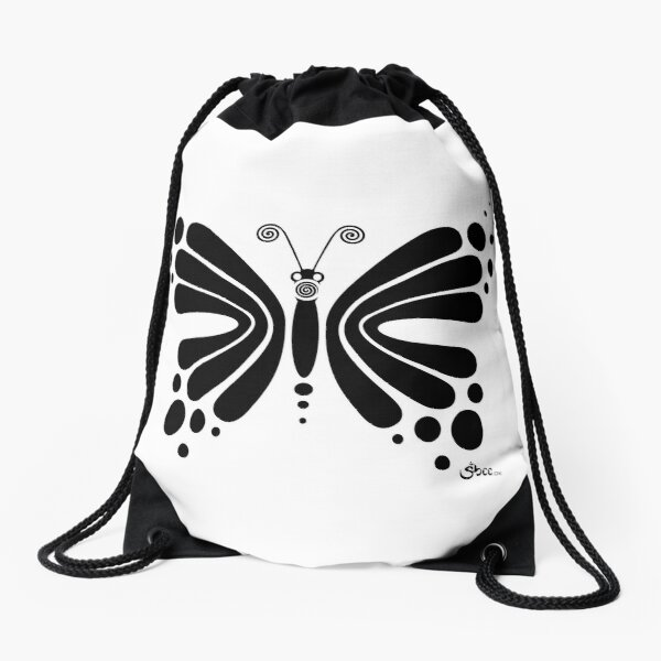 Hypnotic Butterfly B&W - Shee Vector Shape Drawstring Bag