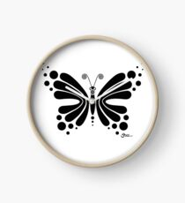 Hypnotic Butterfly B&W - Shee Vector Shape Clock