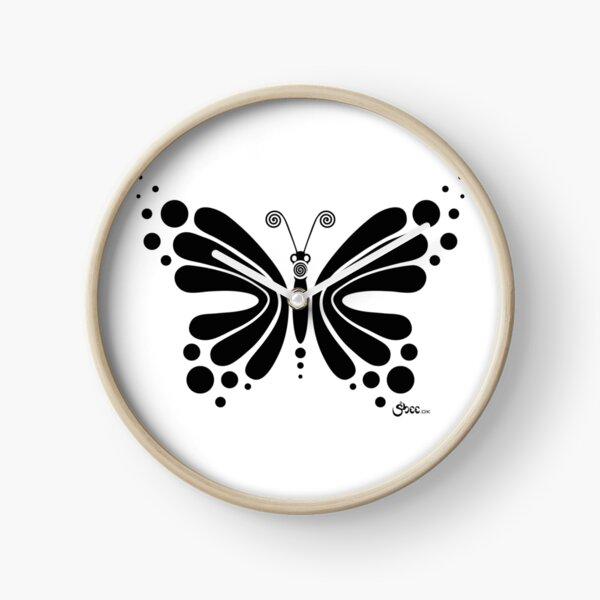 Hypnotic Butterfly B&W - Shee Vector Shape Clock