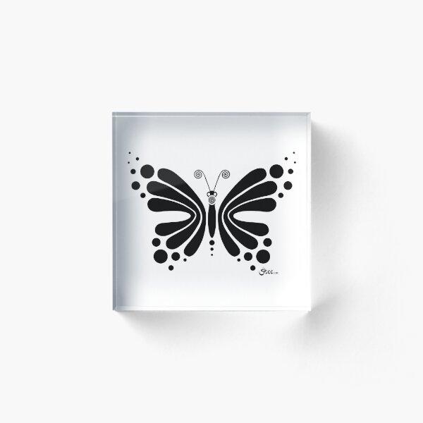 Hypnotic Butterfly B&W - Shee Vector Shape Acrylic Block