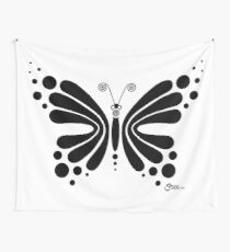 Hypnotic Butterfly B&W - Shee Vector Shape Wall Tapestry