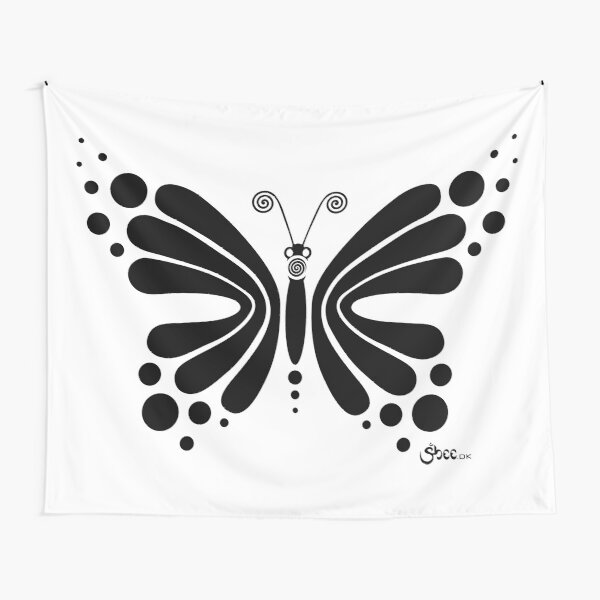 Hypnotic Butterfly B&W - Shee Vector Shape Tapestry