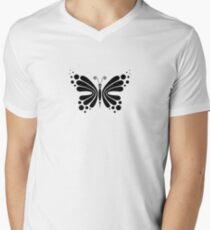 Hypnotic Butterfly B&W - Shee Vector Pattern V-Neck T-Shirt