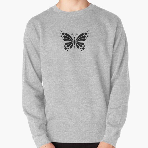 Hypnotic Butterfly B&W - Shee Vector Pattern Pullover Sweatshirt
