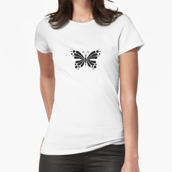 Hypnotic Butterfly B&W - Shee Vector Pattern Fitted T-Shirt