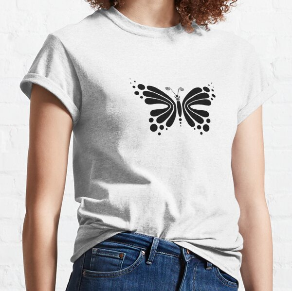 Hypnotic Butterfly B&W - Shee Vector Pattern Classic T-Shirt
