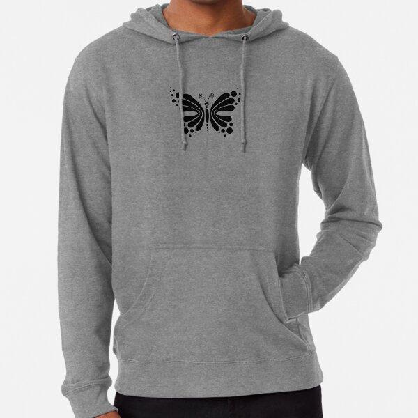 Hypnotic Butterfly B&W - Shee Vector Pattern Lightweight Hoodie