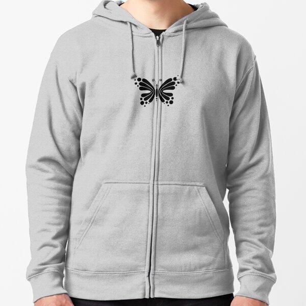 Hypnotic Butterfly B&W - Shee Vector Pattern Zipped Hoodie