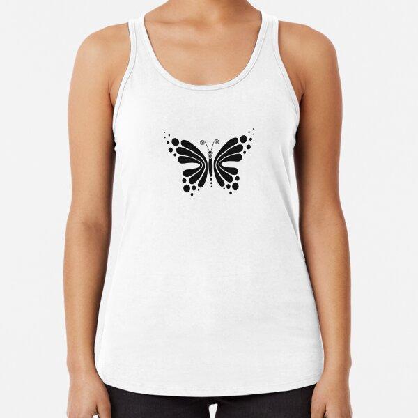 Hypnotic Butterfly B&W - Shee Vector Pattern Racerback Tank Top