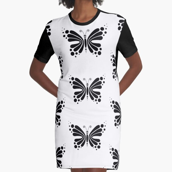 Hypnotic Butterfly B&W - Shee Vector Pattern Graphic T-Shirt Dress