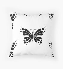 Hypnotic Butterfly B&W - Shee Vector Pattern Throw Pillow