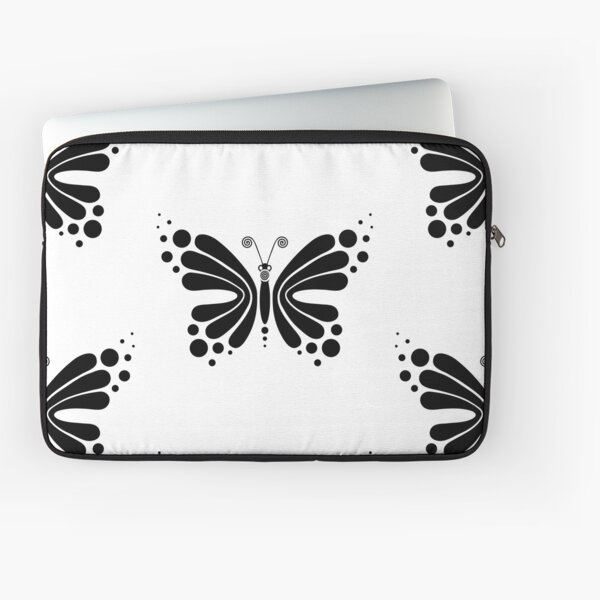 Hypnotic Butterfly B&W - Shee Vector Pattern Laptop Sleeve