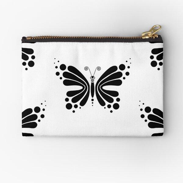Hypnotic Butterfly B&W - Shee Vector Pattern Zipper Pouch