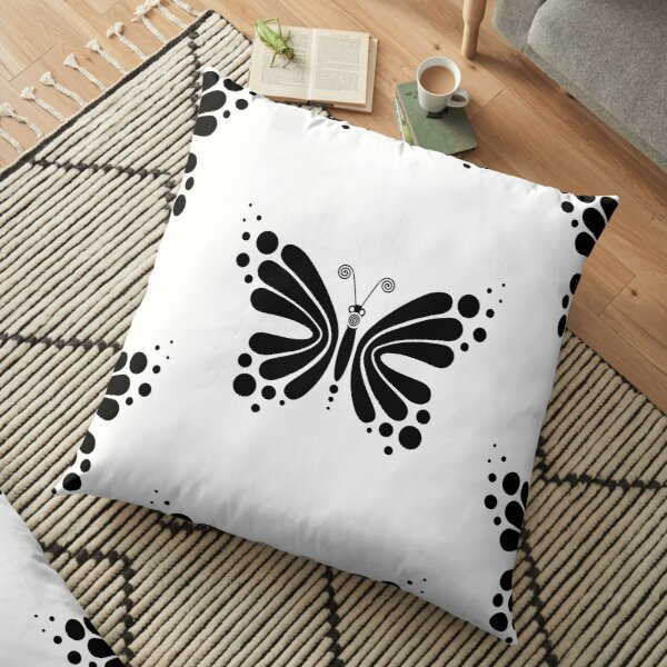 Hypnotic Butterfly B&W - Shee Vector Pattern Floor Pillow
