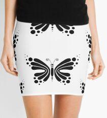 Hypnotic Butterfly B&W - Shee Vector Pattern Mini Skirt