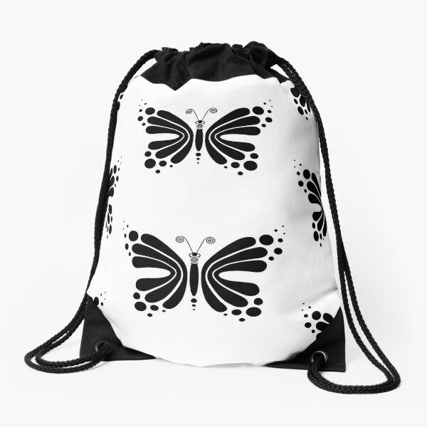 Hypnotic Butterfly B&W - Shee Vector Pattern Drawstring Bag