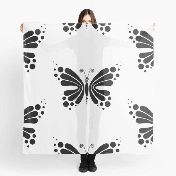 Hypnotic Butterfly B&W - Shee Vector Pattern Scarf