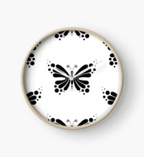 Hypnotic Butterfly B&W - Shee Vector Pattern Clock