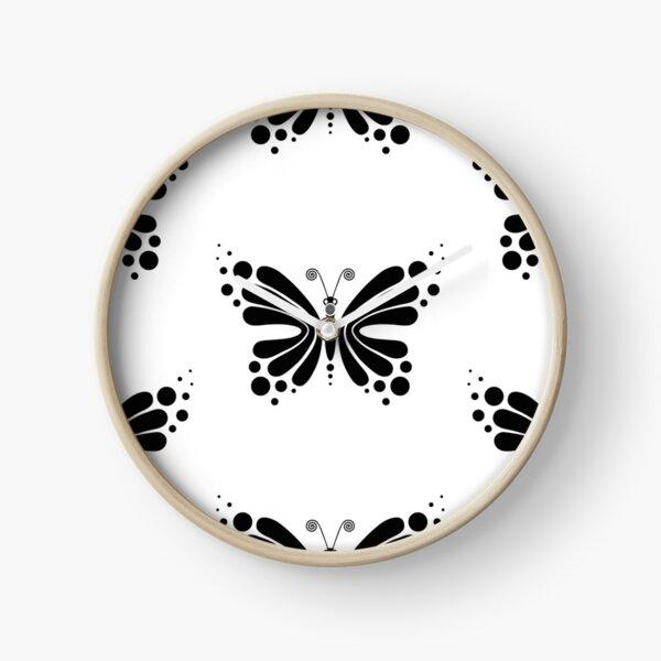 Hypnotic Butterfly B&W - Shee Vector Pattern Clock